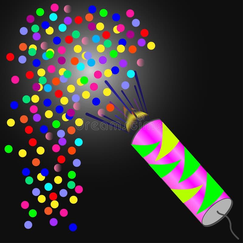 Brightly Colorful Fireworks on twilight background stock illustration