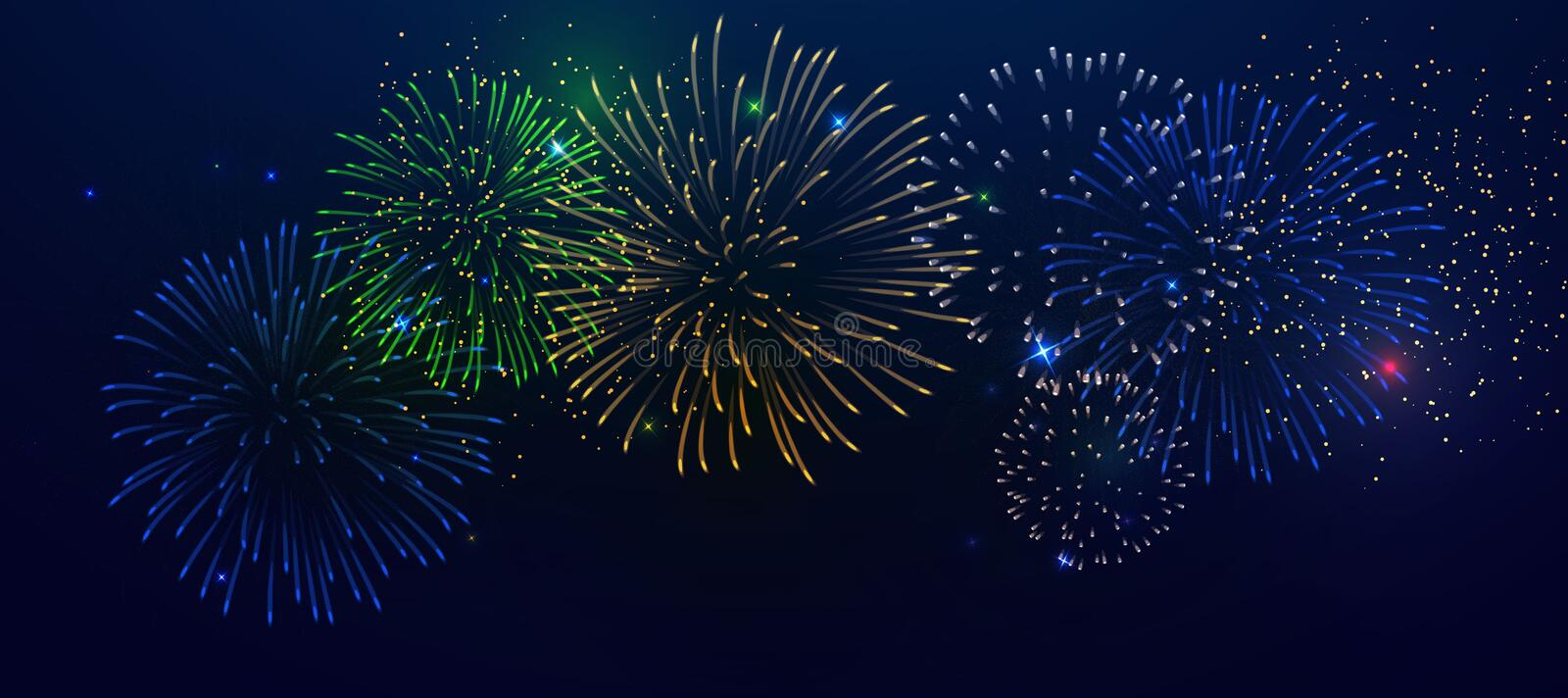 Brightly Colorful Fireworks stock illustration