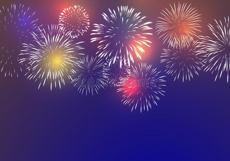 Brightly Colorful Fireworks. On twilight background stock illustration