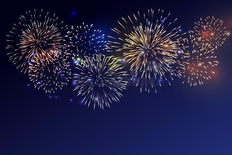 Brightly Colorful Fireworks on twilight background. For celebrating all festive royalty free illustration