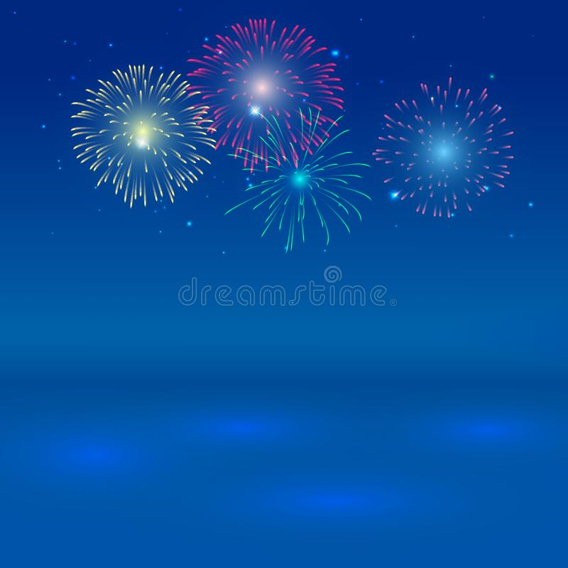 Brightly Colorful Fireworks on twilight background with shadow on blue ocean. stock illustration