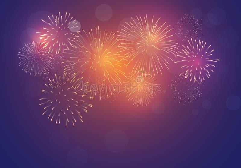 Brightly Colorful Fireworks on twilight dark background royalty free illustration
