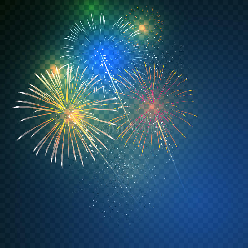 Brightly Colorful Fireworks on twilight. Transparent background vector illustration