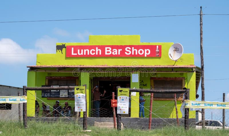 Brightly coloured cafe / shop in rural area on the Wild Coast near Morgan Bay, Transkei South Africa royalty free stock images