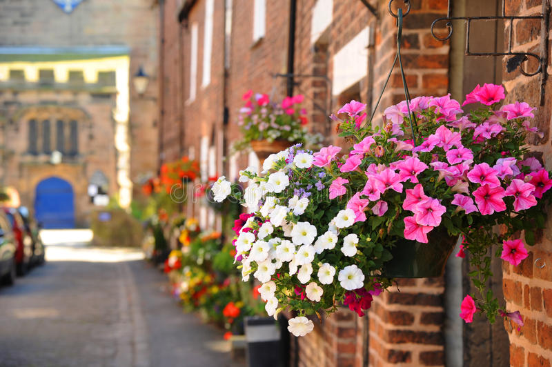 Brightly coloured floral baskets in the pretty English floral village of Croston. Croston floral village in Lancashire, England near Southport and next to the royalty free stock photo