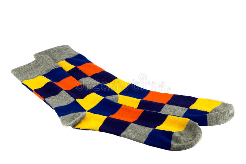 Brightly Coloured Socks on White Background royalty free stock photo