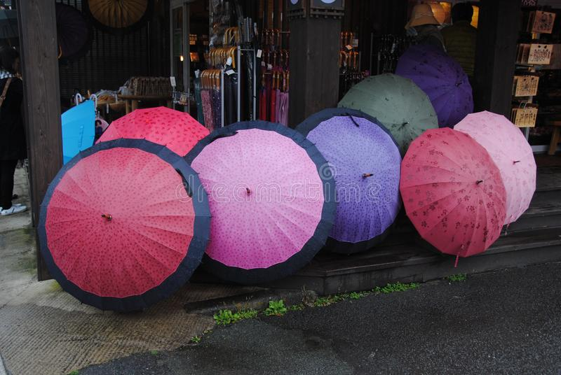 Brightly coloured umbrellas on display in Bepu Japan stock photos