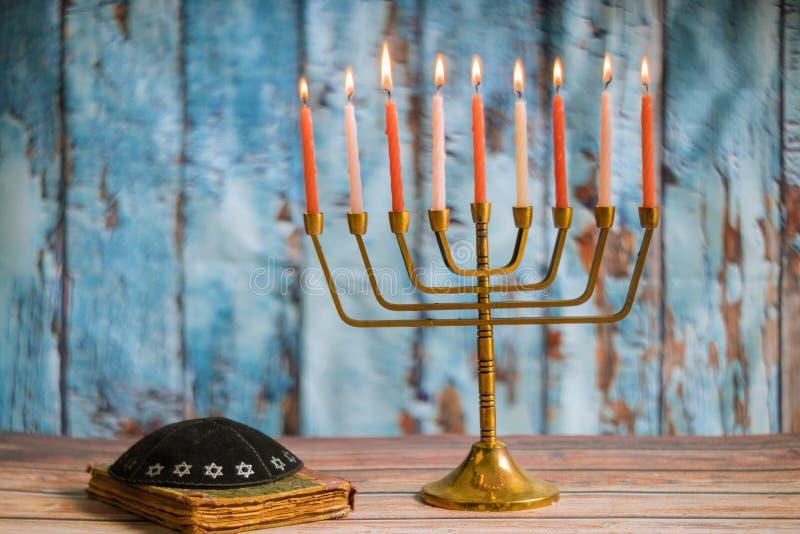 Brightly Glowing Hanukkah Menorah soft focus royalty free stock images