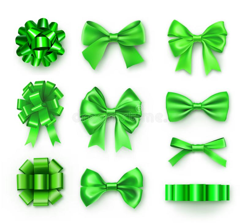 Brightly green various bows with ribbons. Saint Patricks day decor isolated on white background. Realistic decoration for holidays presents and cards. Elegant stock illustration