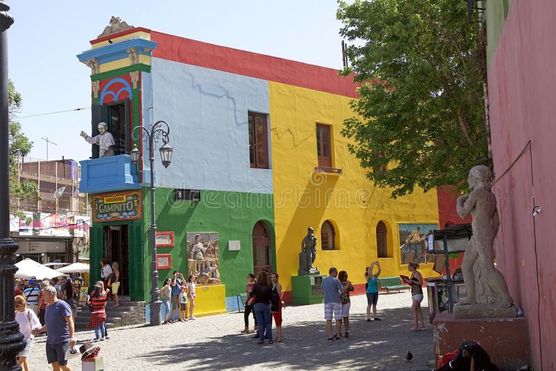 Caminito in La Boca, Buenos Aires, Argentina. Brightly painted house with Pope on the balcony and people along the Caminito, a walkway, in La Boca in Buenos stock photos