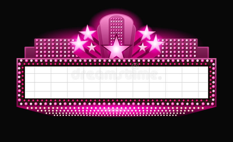 Brightly theater glowing pink retro cinema neon sign. Brightly vintage glowing pink retro cinema neon sign stock illustration
