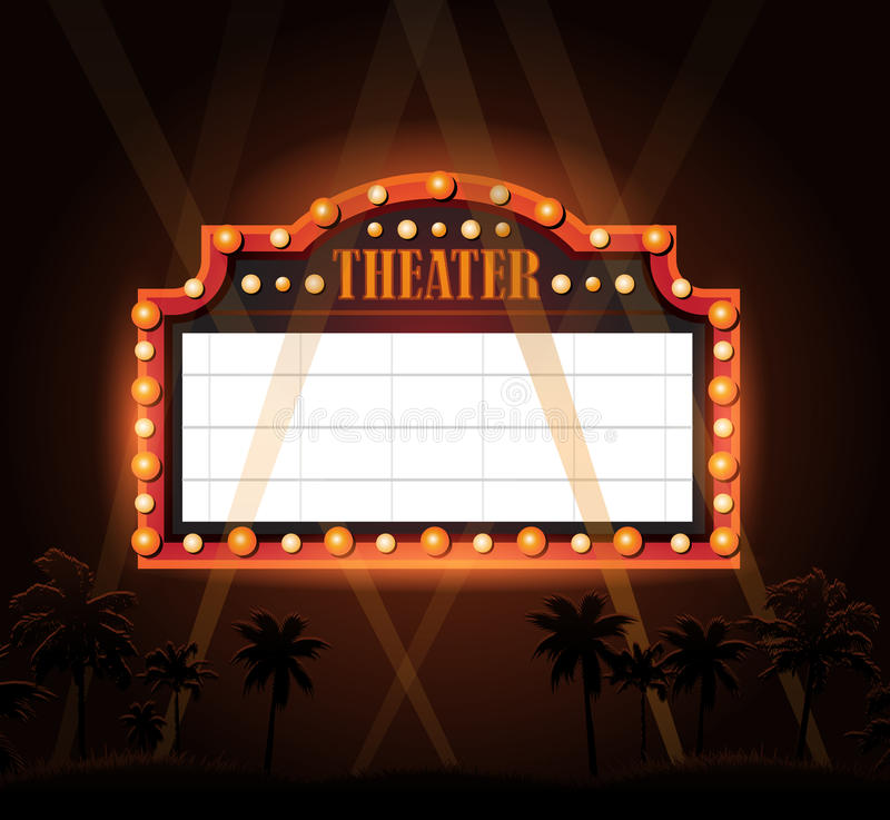 Brightly theater glowing retro cinema neon sign. Brightly vintage glowing retro cinema neon sign vector illustration