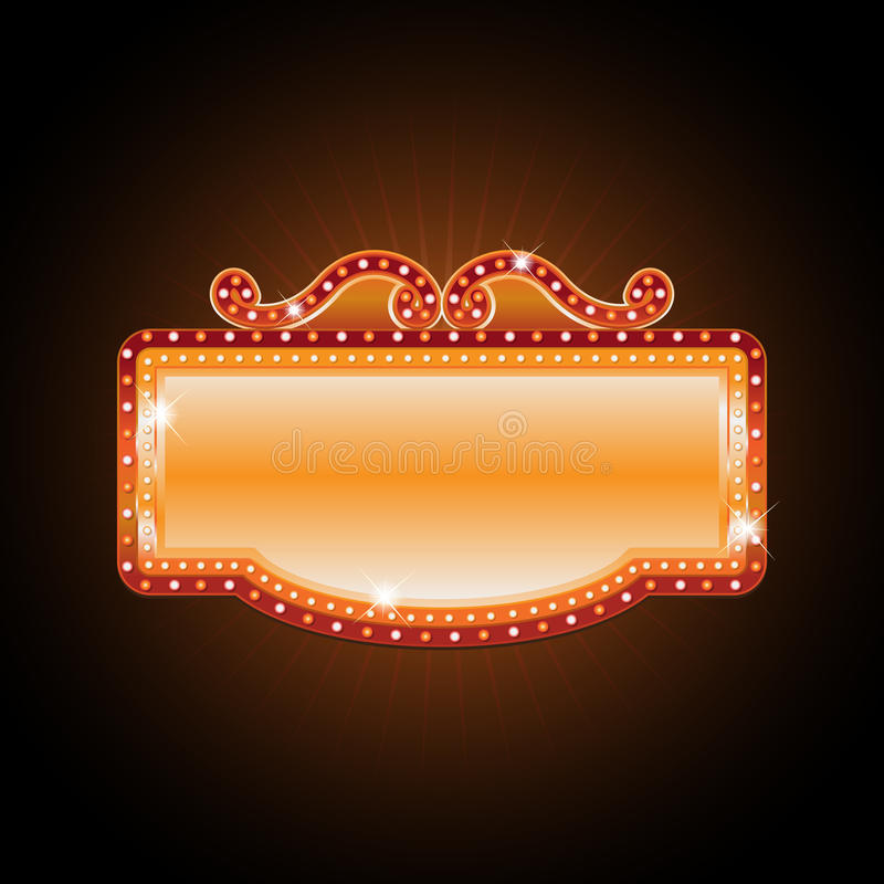 Brightly Theater Glowing Retro Cinema Neon Sign Stock Illustrations