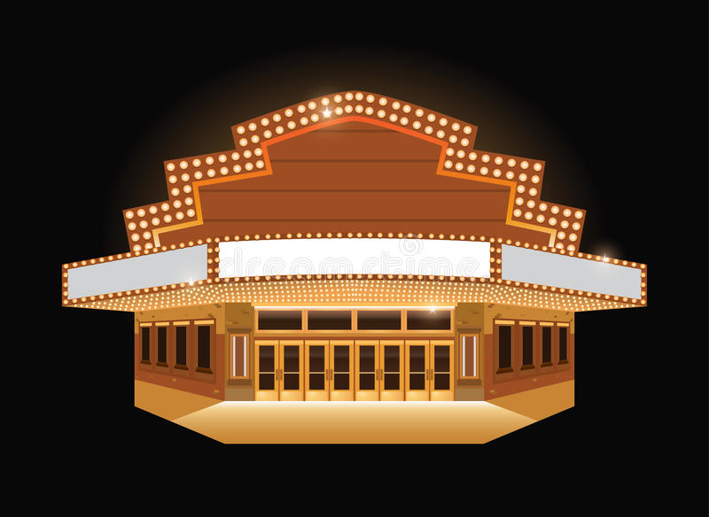 Brightly theater glowing retro cinema neon sign. Brightly theater glowing retro vintage cinema building sign royalty free illustration