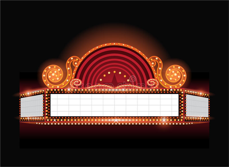 Brightly vector theater glowing retro cinema neon sign. Brightly theater glowing retro cinema neon sign vector illustration