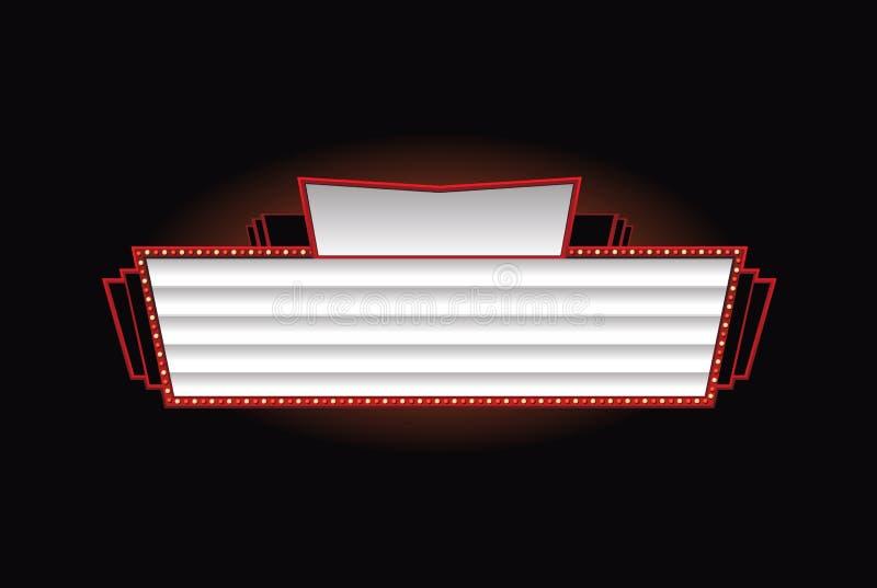Brightly theater glowing retro cinema neon sign. Brightly vintage glowing retro cinema neon sign royalty free illustration