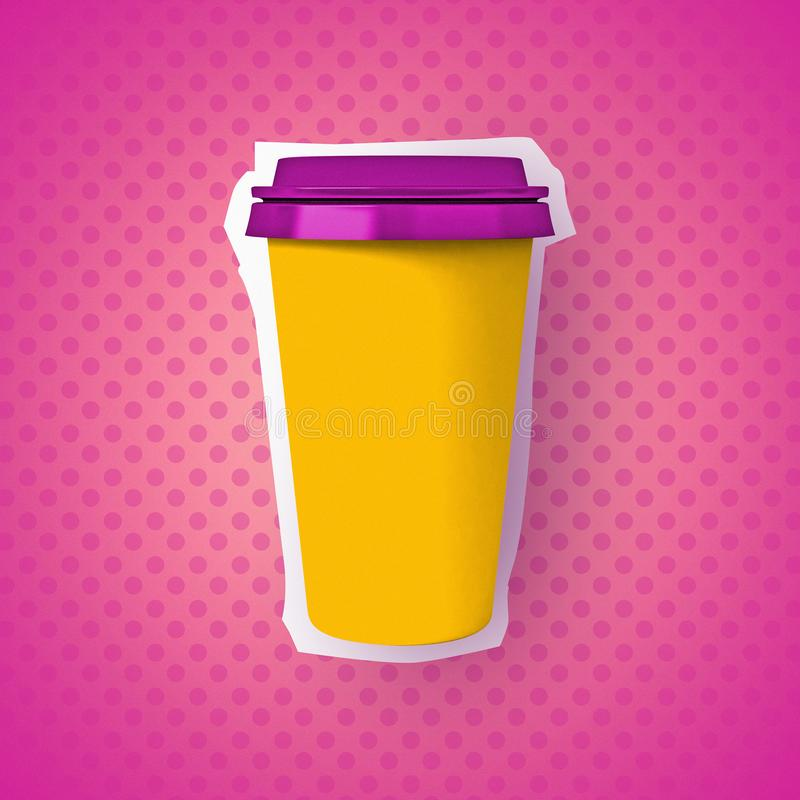 Brightness zine illustration, coffee paper cup royalty free stock photo