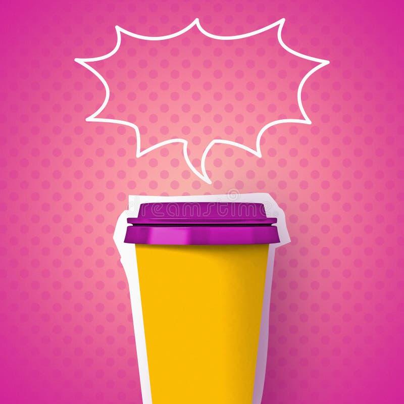 Brightness zine illustration, coffee paper cup stock photography