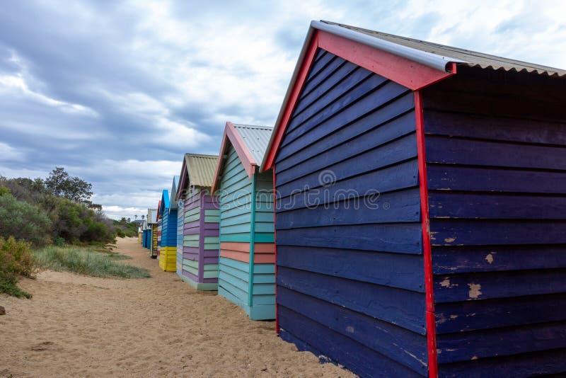 Brighton Bathing Boxes, fotos de archivo libres de regalías