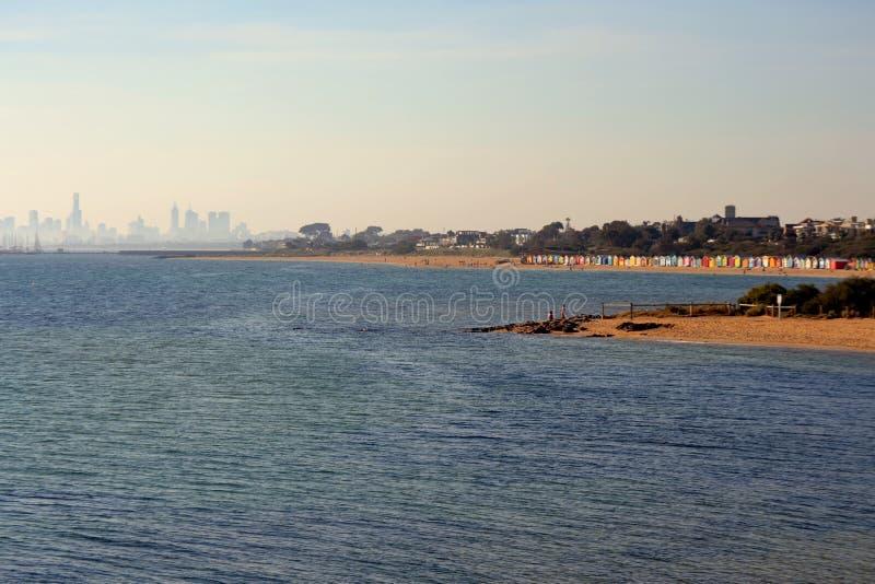 Brighton Beach Bathing Boxes fotografia stock libera da diritti