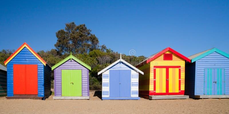 Brighton Beach Bathing Boxes royalty-vrije stock afbeelding