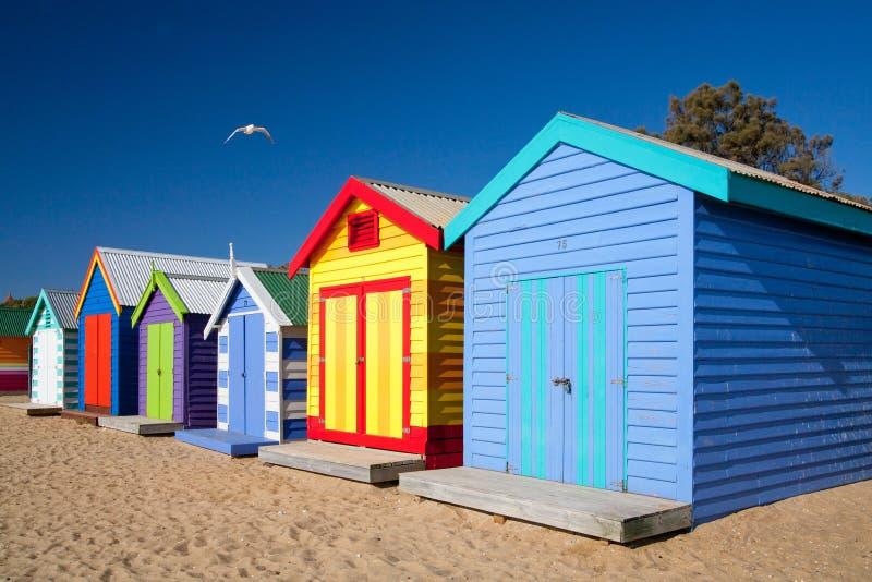 Brighton Beach Bathing Boxes photo stock