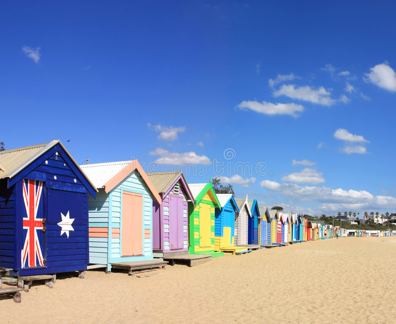 Brighton Beach Bathing Boxes Stock Photos