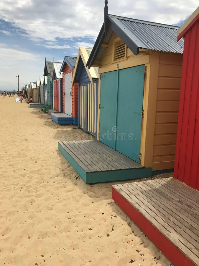 Brighton Beach Hütten lizenzfreies stockbild
