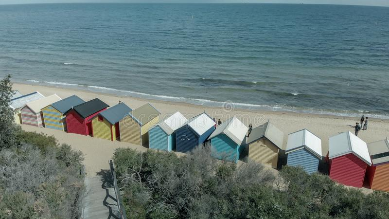 Brighton Beach's Beach Boxes, aerial panoramic view in winter royalty free stock images