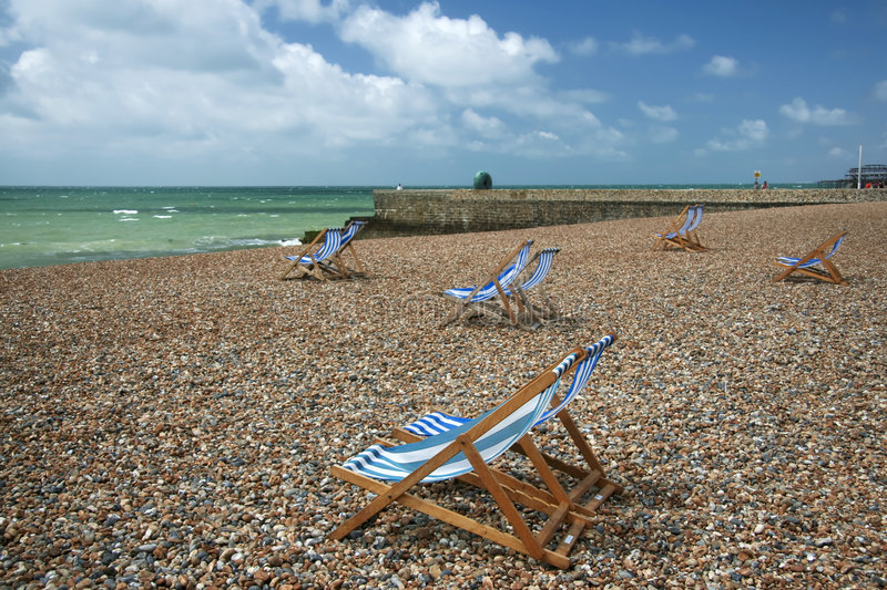 Download Brighton Beach Striped Deckchairs Sussex England Stock Image - Image: 4556617