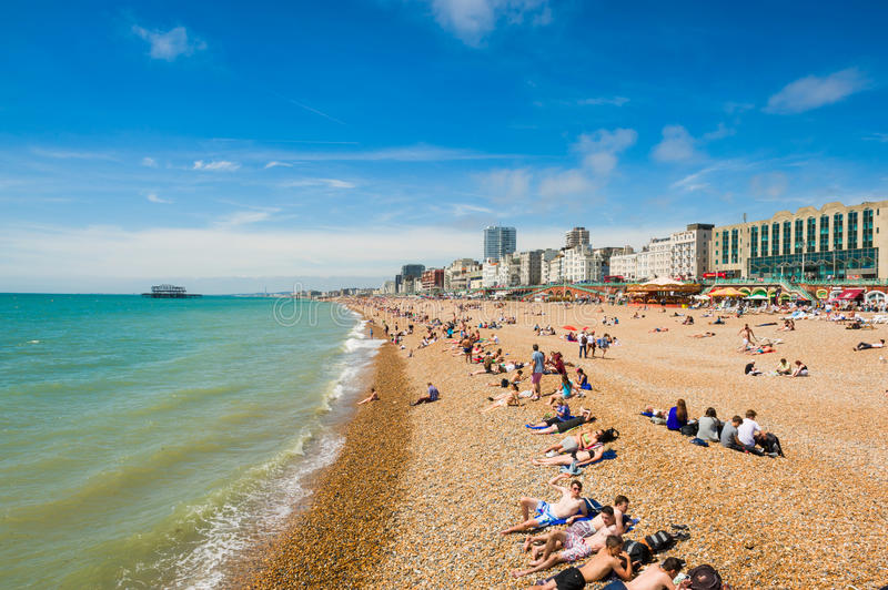 Brighton beach. On sunny day. Tourist resort on the south of England. August 2014 stock photos