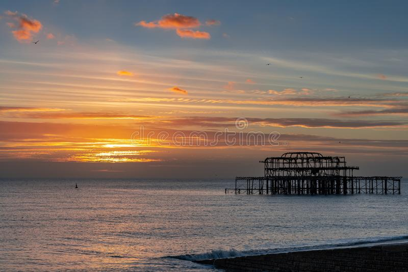 View of the West Pier in Brighton East Sussex on January 8, 2019. BRIGHTON, EAST SUSSEX/UK - JANUARY 8 : View of the West Pier in Brighton East Sussex on January royalty free stock photography