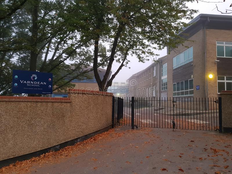 Brighton, England-19 October, 2018: The entrance of the Varndean School with school lawn in front of the school in Brighton, East stock photo