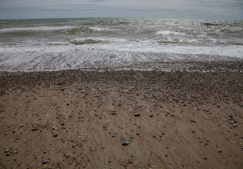 Brighton, England, the UK - beach and waves. stock images