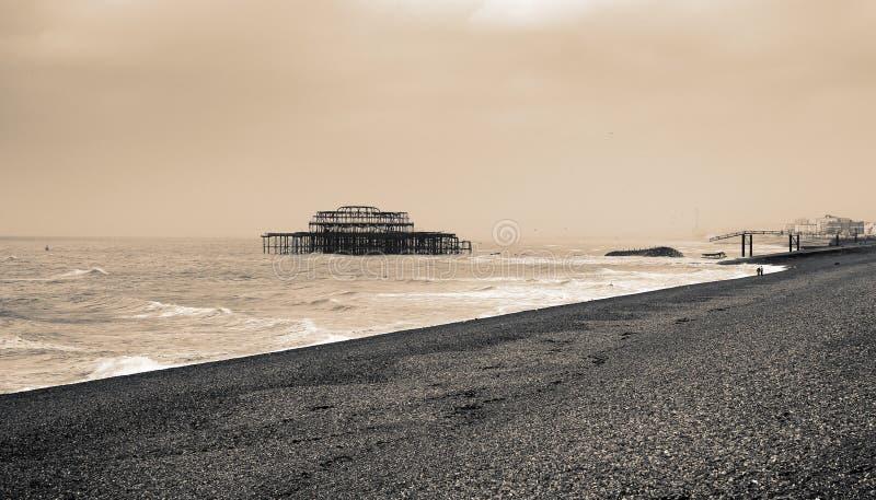 Brighton Gammal Pir Arkivbild