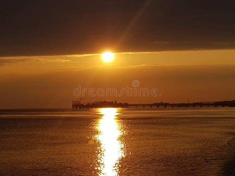 Brighton Golden Sunset imagenes de archivo