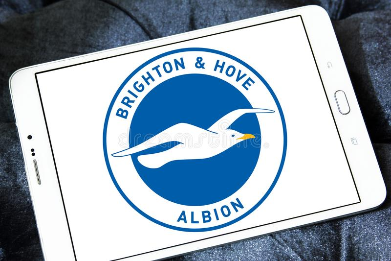Brighton & Hove Albion F.C. football club logo. Logo of Brighton & Hove Albion F.C. soccer club on samsung tablet stock images