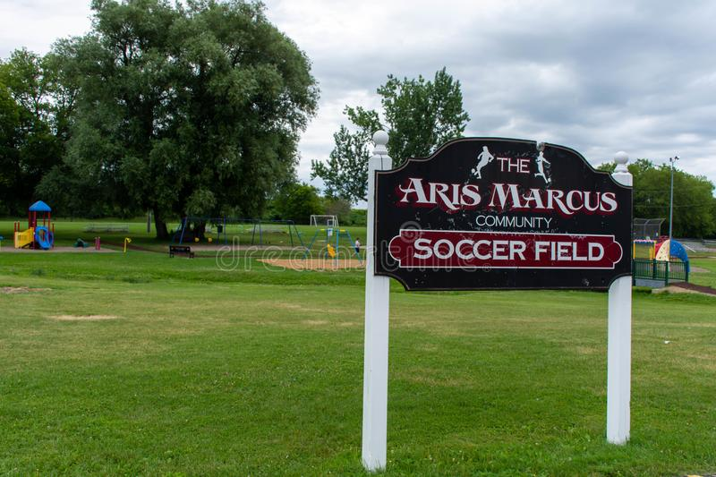Marcus Community Soccer Field Sign For Park In A Small Town Canadian