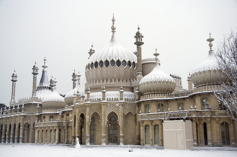 Brighton Pavilion in heavy snow stock photography