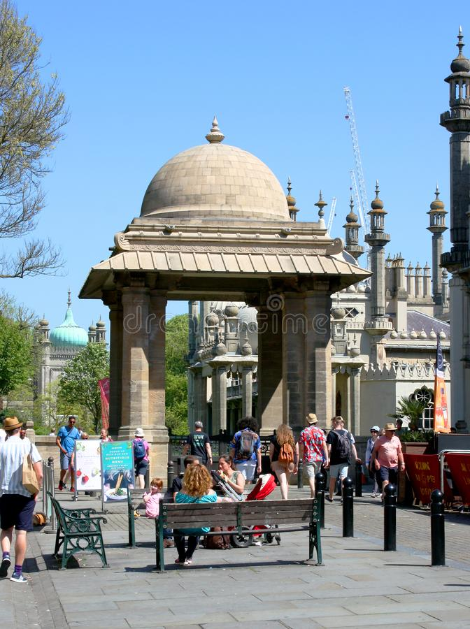 Brighton Pavilion. People visiting the Brighton Pavilion on a sunny day in Brighton, Sussex, England stock photos