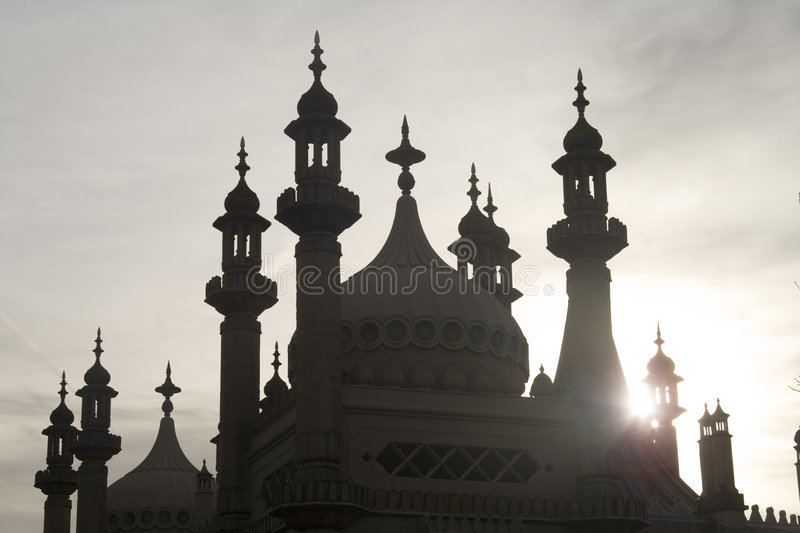 Brighton Pavilion in silhouette royalty free stock image