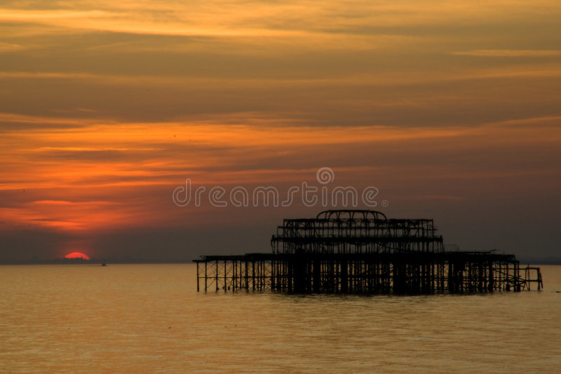 Download Brighton pier at sunset stock photo. Image of famous, coast - 6579936