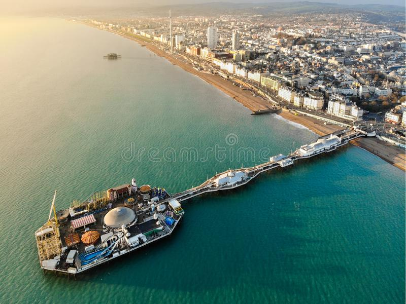 Brighton Pier, United Kingdom - Aerial Photograph. Aerial photograph of Brighton Pier during sunset, United Kingdom stock photography
