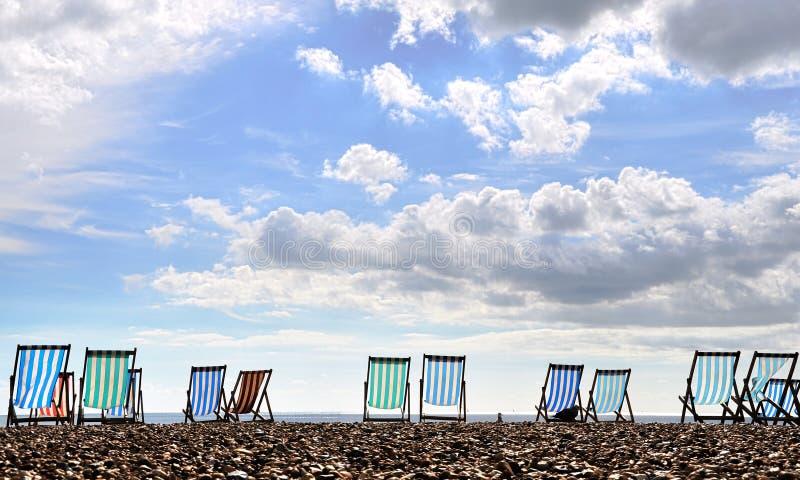 brighton plażowi deckchairs fotografia stock