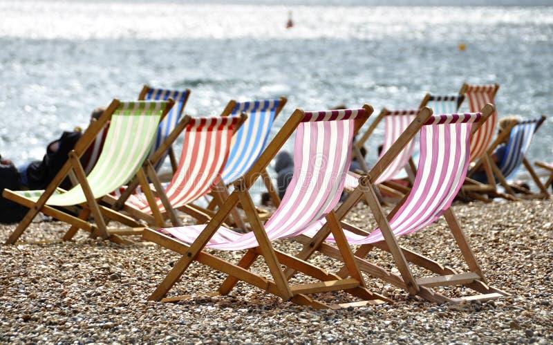 brighton plażowi deckchairs zdjęcia royalty free