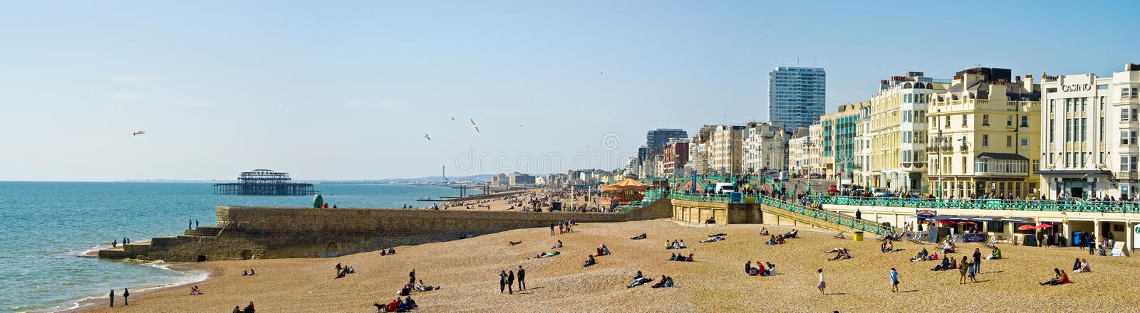 Brighton seafront. And beach seen from the pier, Brighton, England stock images