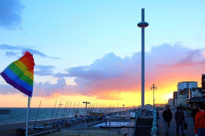 Brighton sefront at sunset stock image