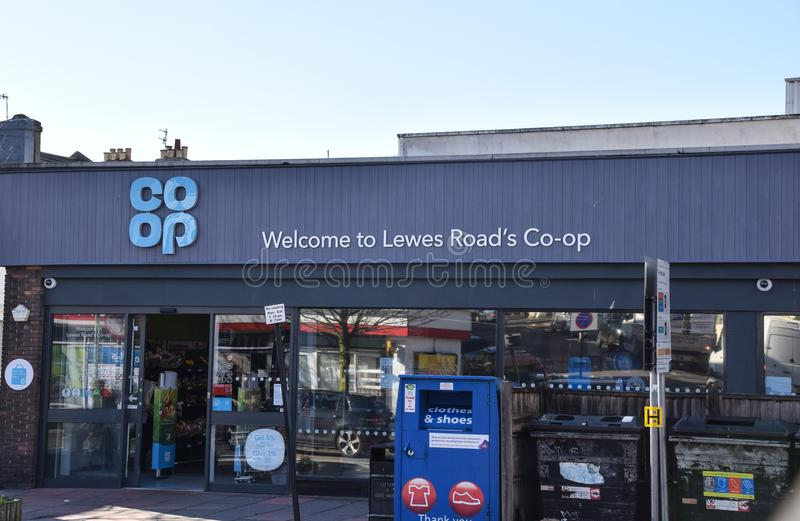 Co-Op store Lewes Road. Brighton, United Kingdom - March 28 2018: The frontage of Co-Op supermarket on Lewes Road stock image