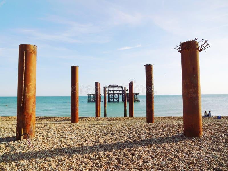 Brighton West Pier et piliers 2 images libres de droits