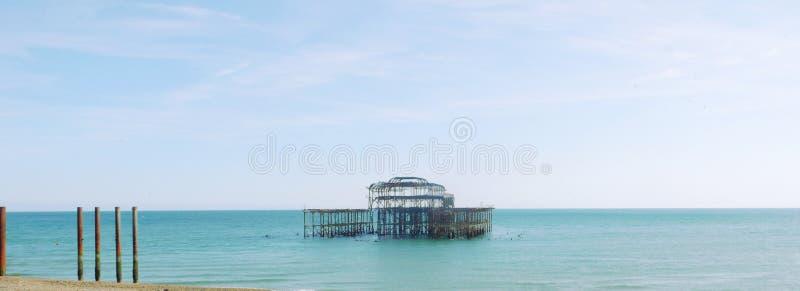 Brighton West Pier panorama royaltyfria foton